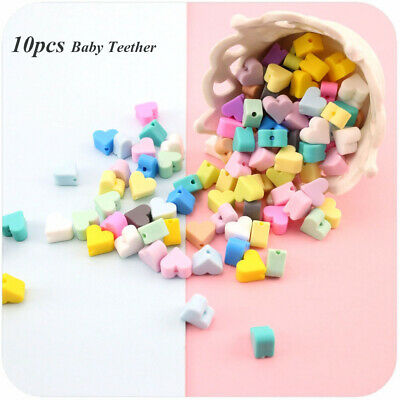 Heart-Shaped BPA-Free Silicone Chew Beads Baby Teether Mom DIY Necklace