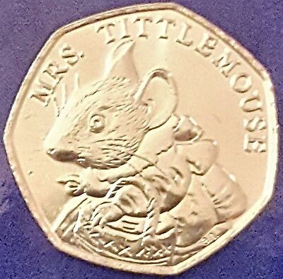 2018 MRS TITTLEMOUSE 50P COIN UNC NEW BEATRIX POTTER fifty pence from sealed bag
