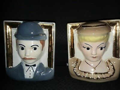 Vintage Porcelain 2 Wall Pockets featuring Man and Woman Victorian faces