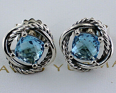 David Yurman Infinity Earrings With Blue Topaz
