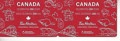 2 Tim Hortons Canada Celebrating 150 $0 Value Collectible Gift Cards