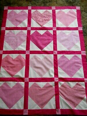 Hearts in Pink  --  quilt top   **new**   (45 x 58)