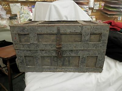 antique dated 1921 traveler trunk hand made box metal straps rustic industrial