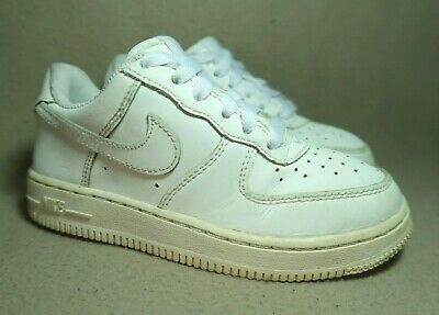 cc242f760044 NIKE FORCE 1 LOW PS CHILDREN S Triple White Leather Trainers UK 12  EU 30