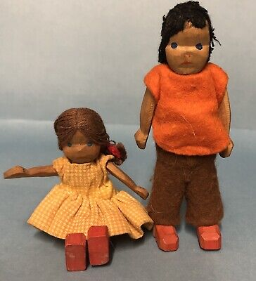 VINTAGE LOTTE SIEVERS HAHN DOLL HOUSE GERMANY Brother And Sister 10cm And 9 cm