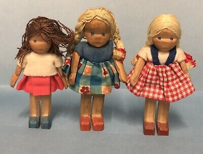 VINTAGE LOTTE SIEVERS HAHN DOLL HOUSE DOLLS GERMANY 3 Girls 8 Cm 9 Cm