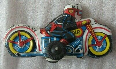 Vintage Tin Metal Friction Motorcycle Toy Military Police Old