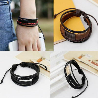 2019 Fashion Retro Multilayer Leather Wristband Bracelet Cuff Bangle Men Women
