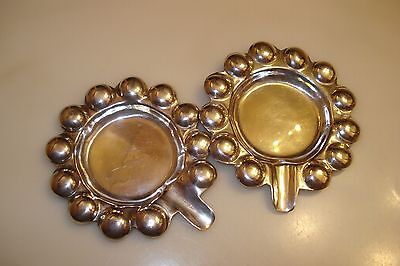 """Mexico Set Of 2 Ashtrays Rare """"bubble Pattern"""" Solid Sterling Silver  58 Grams"""