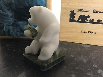 Collectible Vintage Grizzly Bear Star Marble Stone Carving figurine sculpture