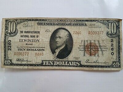 $10 1929 Lewiston Maine ME National Currency Bank Note Bill #2260