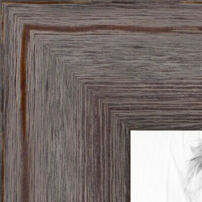 "ArtToFrames Custom Picture Poster Frame Gray Grey Distressed  1.75"" Wide Wood"