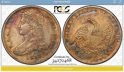 Rare High Grade 1837 Capped Bust Half Dollar PCGS Cleaned-AU Details