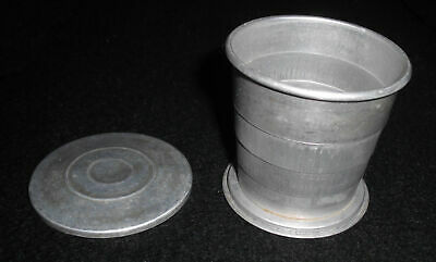 Vintage 1950's ALUMINUM COLLAPSIBLE CUP WITH LID