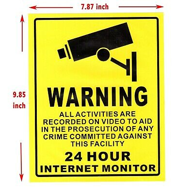Warning CCTV Sticker CCTV Camera Sign 24 Hour Video Surveillance Security  US