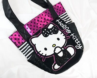3f7e3fe5bb51 HELLO KITTY Loungefly Womens Shimmery Tote Purse Bag Large Polka Dots Pink  Black
