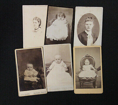 Lot of 6 Cardboard backed Photos – Sepia or Black & White 1800-1900s est.