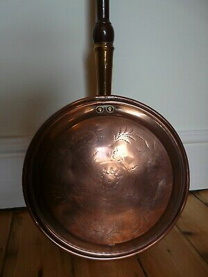 Vintage or Antique Large Copper Long Handle Bed Warmer Warming Pan