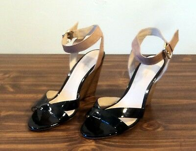 55d4eb65b841 Ladies NINE WEST Black Patent Leather Ankle Strap Wedge High Heel Shoes  Size 8M