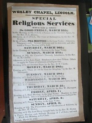 1842 Lincoln Lincolnshire Wesley Chapel Special Religious Services Poster