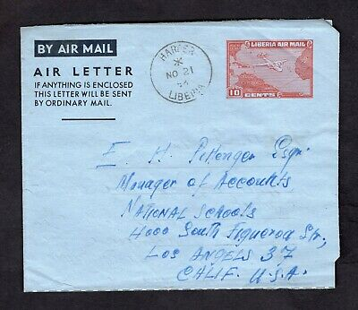 1956 Liberia 10c Air Mail Stamp Like #C37 Aerogramme Air Letter Sheet Monrovia