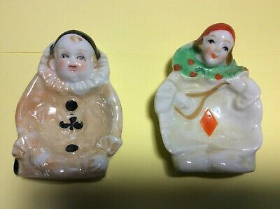 Two Vintage Porcelain Small Clown Bowls marked Made in Japan