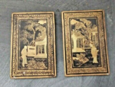Antique Pair Oriental Lacquered Panels Painted Gold Design Man & Woman In Garden
