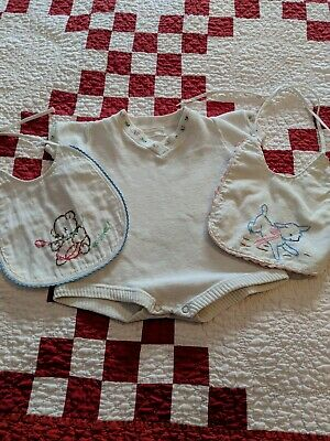 Vintage Lot of 3 Romper and 2 Baby Bibs Hand Stitched