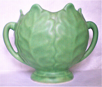 """Vintage Monmouth Pottery  6"""" High Matte Green Cabbage Leaf Bowl #257 Circa 1938"""