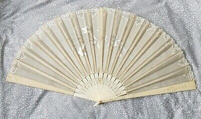 Beautiful Large European 19 Century Hand Fan Ivory Lace Silk Embroidery Hand...