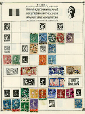 Vintage Stamps of France, 1876-1960, Hinged to 12 Pages, 20 MH (all removable)