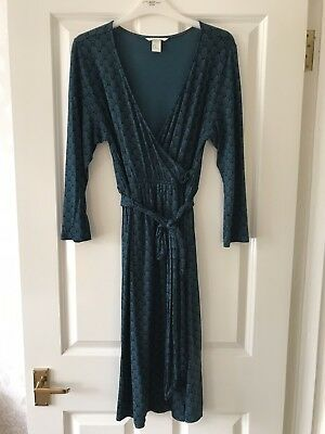 H&M Mama Dark Turquoise/Patterned Wrap Dress Size Medium
