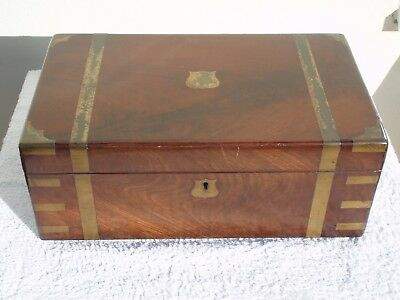 Antique Victorian Campaign Writing Slope Brass Mounts Fitted Interior Hinged Lid