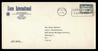 Dr Who 1959 Iceland Reykjavik To Usa Lions Club Air Mail C80192