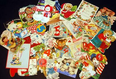 27 Vtg Lot Greeting Cards 1940's-50's Stand-Up Mechanical Motion Hallmark Gibson