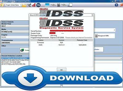 Isuzu Software G-IDSS 2018 v18.01.4.1 FULL J2534 Passthru Support