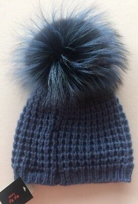 7a2625542b5 KYI KYI CANADA Extra Big Fox Fur Pom Pom NWT Winter Hat Harbor Silver Blue  R607