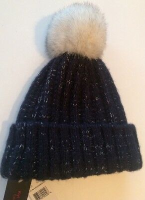 28fffb7960e KYI KYI CANADA Fox Fur Pom Pom NWT Winter Hat Navy Marled Blue Fox 710