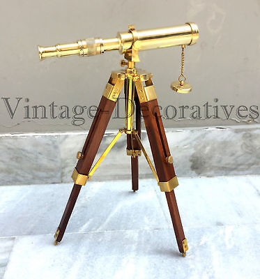 Nautical Brass Telescope With Table Top Wooden Tripod Stand Marine Working Decor