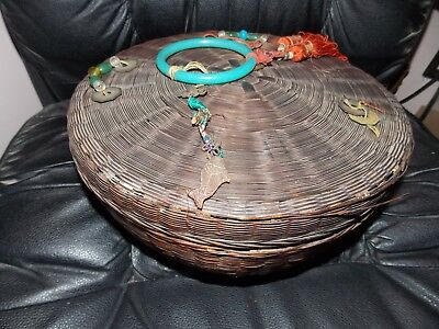 Antique japanese Basket with Beads Tassel and coins with Lid