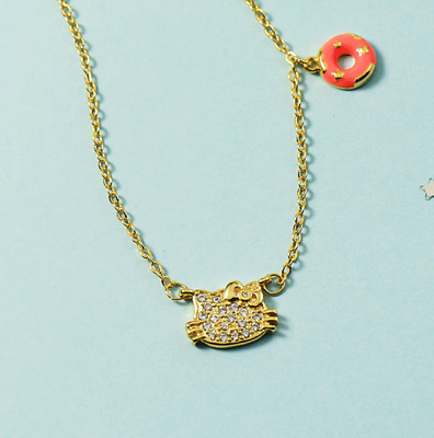de1cd900c White Gold GP Crystal Silver Pink Bow Hello Kitty Cat Kitten Pendant  Necklace