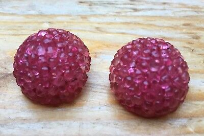 Vintage Clip On Pink Button Earrings/Plastic 3D Bobble/Statement Look/Retro