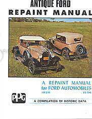 Ford Model A and V8 Repaint Manual includes Paint Color 1928 1929 1930 1931-1936