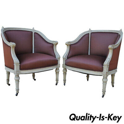 Pair of French Louis XVI Style Petite Cream Painted Chairs Bergere Armchairs