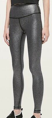 d006722f81 LULULEMON Wunder Under High Rise Tight Luminosity Foil Black Silver 8 10