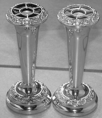 Pair Very Similar Ianthe of England Silver Plated Vases with Rose Tops