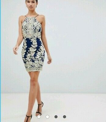 d5565616d7 Love Triangle Dress Asos Lace Overlay Cami Lace Back up Gold Navy Color Size  12
