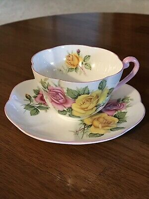 Shelley Fine Bone China Vintage Tea Cup and Saucer.  Pink and Yellow Roses.