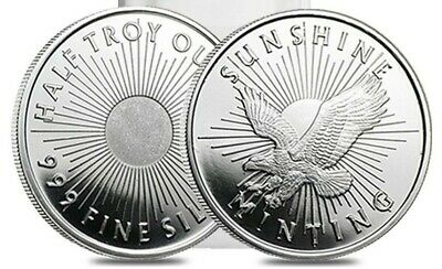 Lot of 100 - 1/2 Troy oz Sunshine Minting .999 Fine Silver Rounds w Mint Mark SI