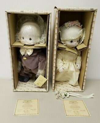 Precious Moments Bride and Groom Dolls Tammy E-7267G Cubby E-7267B